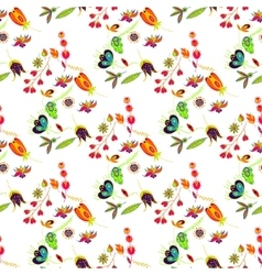 Seamless multicolored retro flower pattern vector