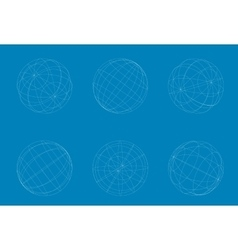 Modern geometric white circle sphere set vector
