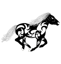 Tribal silhouette of a running horse vector