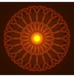Geometric round orange glow mandala vector