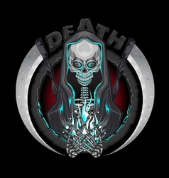Death skeleton grim reaper characters with scythe vector
