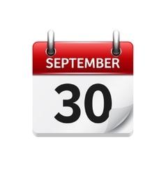 September 30 flat daily calendar icon vector