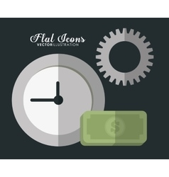 Clock gear and bill icon office instrument vector