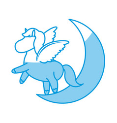 Beautiful horse pony wings foal toy vector