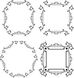black and white ornamental frame monogram element vector image