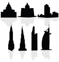 Buildings art black silhouette vector