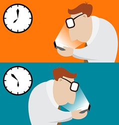 Businessman walk in office and using his mobile vector image vector image
