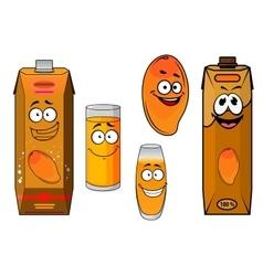 Cartoon sweet mango fruit and juice vector image