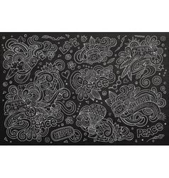 Chalkboard set of hippie object vector