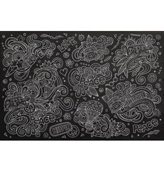Chalkboard set of hippie object vector image