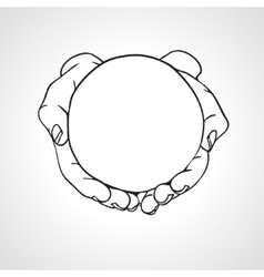 Closeup of cupped hands holding a round object vector image vector image