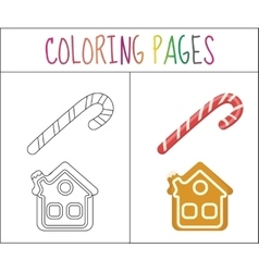 Coloring book page christmas candy cane and vector
