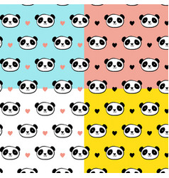 cute panda bear seamless patterns vector image vector image