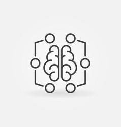 Digital brain minimal icon - machine vector