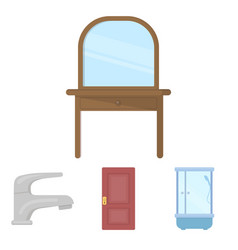 Door shower cubicle mirror with drawers faucet vector