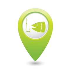 Fishing icon green map pointer vector