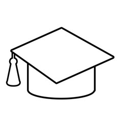 graduation cap icon outline line style vector image vector image