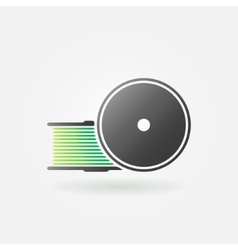 Green filament for 3d printer icon vector