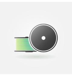 Green filament for 3d printer icon vector
