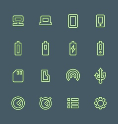 Green outline various device icons set vector