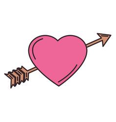 heart love card with arrow vector image vector image