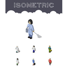 Isometric person set of guy medic hostess and vector