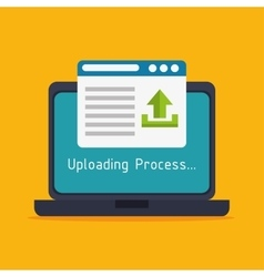 laptop upload process design isolated vector image vector image