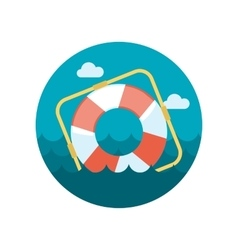 Lifebuoy flat icon with long shadow vector image vector image
