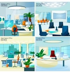Modern office interiors 2x2 design concept vector