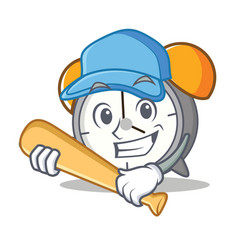 Playing baseball alarm clock character cartoon vector