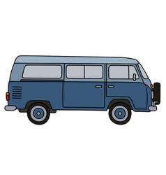 Retro blue minivan vector