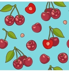 Seamless background with cherries vector image vector image