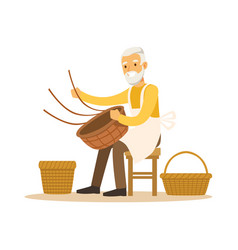 Senior man weaving baskets craft hobby or vector