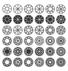 Set of cutting samples diamonds gemstones design vector