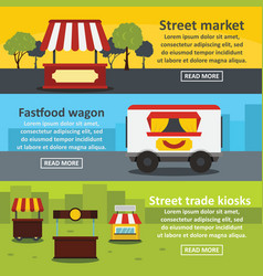 Street food banner horizontal set flat style vector
