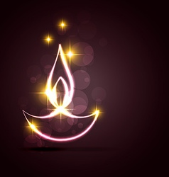 Stylish diwali diya on a background vector