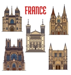 Travel landmarks of french gothic architecture vector image vector image