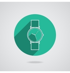 Trendy wristwatch icon with long shadow vector