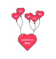 valentine s day sale with flying heart on balloon vector image