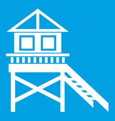 Wooden stilt house icon white vector