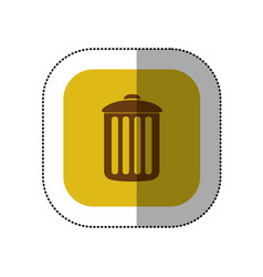 Yellow symbol trash can icon vector