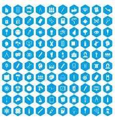 100 paint icons set blue vector