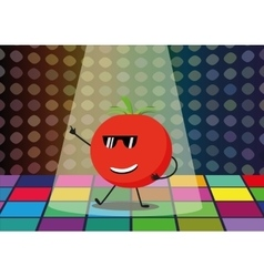 Funny tomato dancing disco vector