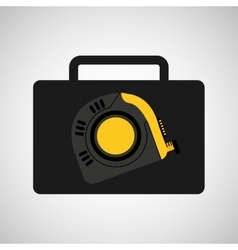 Tool box measure tape construction icon design vector