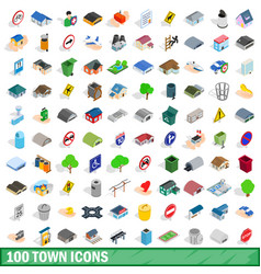 100 town icons set isometric 3d style vector