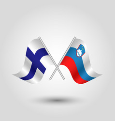 two crossed finnish and slovenian flags vector image