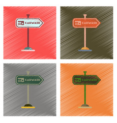 Assembly flat shading style icons car wash sign vector