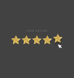 Golden star rating mouse click icon vector