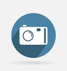 Circle blue icon with shadow photo camera vector