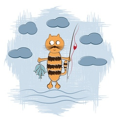 Cartoon cat with fishing rod and fish vector